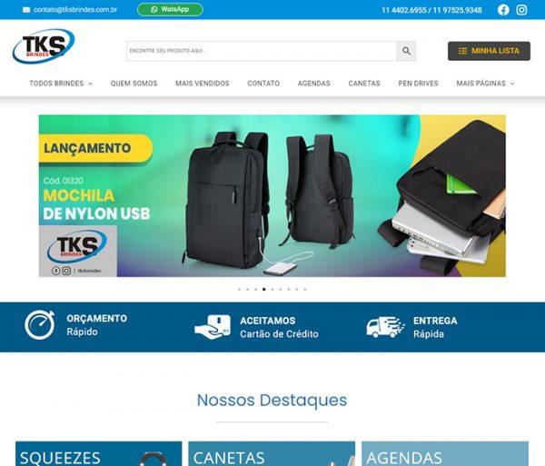 Criação da Loja Orçamento da TKS Brindes Personalizados